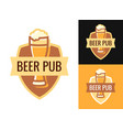 blazon of beer pub on various backgrounds vector image vector image