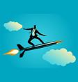businessman on a rocket pen vector image vector image