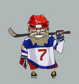 cartoon comical bearded hockey player with hockey vector image vector image