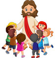 cartoon jesus christ being surrounded by children vector image vector image