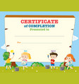 certificate template with happy children vector image