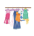 clothes on hangers women s and teenager s clothes vector image vector image
