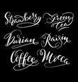 coffee and strawberry hand written typography vector image vector image