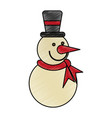 colorful crayon silhouette of snowman with scarf vector image vector image