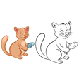 Coloring book page for kids with funny cartoon cat vector image vector image