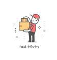 creative of delivery happy man in red uniform vector image