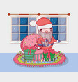 cute christmas santa claus with bag in the house vector image vector image