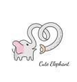 cute elephant sketch doodle vector image vector image