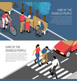 disabled people isometric banners vector image vector image