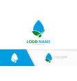 ecological water drop delivery logo combination vector image