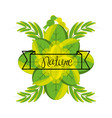 emblem of love nature with branches and leaves vector image vector image