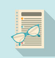 eyeglasses and paper management icon flat style vector image vector image