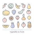 fruits and vegetables icons with editable stroke vector image