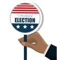hand with button flag usa election graphic vector image