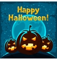 Happy halloween greeting card with angry pumpkins vector image vector image