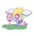 happy valentines day cute cupids cartoon arrow vector image