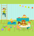 kids playroom with light furniture decor vector image vector image