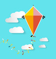 kite on blue sky with clouds vector image vector image