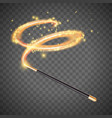 magic wand wizard with magical lights vector image