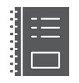 notebook glyph icon office and school note vector image vector image