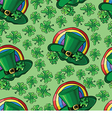 pattern with hat and clover vector image vector image
