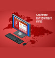 ransomware malicious software that blocks access vector image