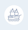 sailing vessel ship line icon isolated over white vector image