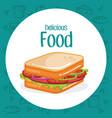sandwich fast food menu vector image vector image