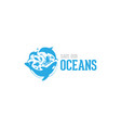 save our ocean style design logo vector image vector image