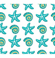seamless pattern with sea stars and seashel vector image vector image