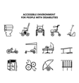 Set of icons on accessible environment for people vector image