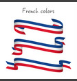 set of three ribbons with the french tricolor vector image vector image