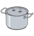Stainless steel pot vector image vector image