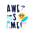 summer icons print design with slogan vector image vector image