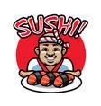 sushi chef mascot vector image vector image
