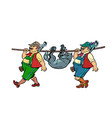 the tale little red riding hood hunters carry vector image vector image