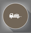 tow car evacuation sign white icon on vector image vector image
