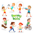 uniformed happy kids playing sports active vector image vector image