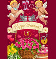 wedding day party cupids rings flower bouquets vector image