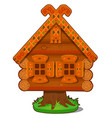 wooden house of baba yaga isolated on white vector image vector image