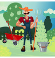 worker in a garden man is working in a farm vector image vector image