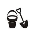 Shovel and bucket vector image