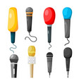 a set microphones made in style a vector image vector image