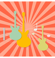 Abstract Paper Guitars on Retro Red Background vector image vector image