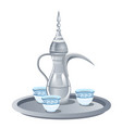 arabic coffee set with dallah three cups vector image vector image
