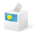 Ballot box with voting paper Palau vector image vector image