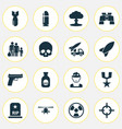 battle icons set collection of dangerous cranium vector image vector image
