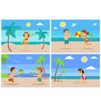 beach summertime vacation kids children set vector image vector image