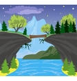 Beauty landscape with lake and mountain background vector image vector image