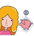 bitcoin and girl vector image
